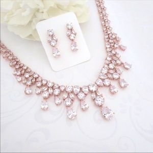 Jewelry - Rose gold,cubic zirconia, bride necklace earrings